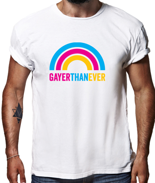 Gayer than ever t-shirt by Riotandco, gay pride t-shirt